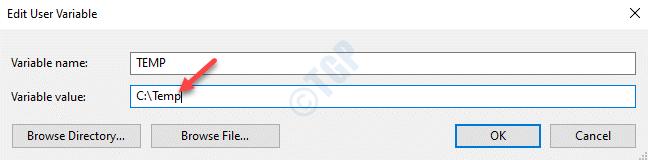 Edit User Variable Temp Change Variable Value Ok