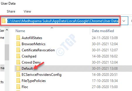 File Explorer Chrome User Data Folder Default Delete
