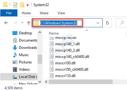 File Explorer Navigate To System32 Folder