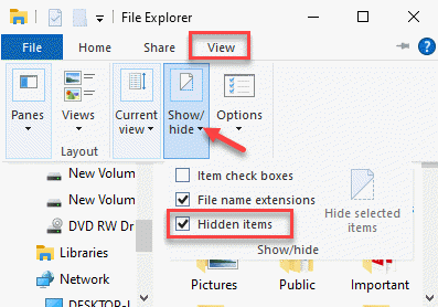 File Explorer View Show Or Hide Hidden Items Check