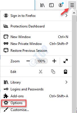 Firefox Open Menu Options