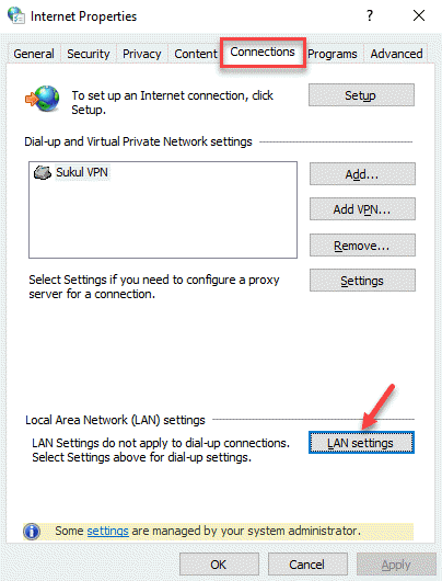Internet Properties Connections Lan Settings