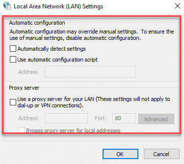 Lan Settings Check If All The Boxes Are Unchecked Ok