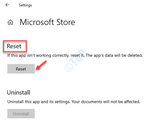 Microsoft Store Advanced Options Reset