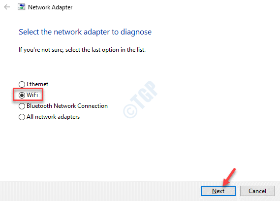 Network Adapter Troubleshooter Select The Network Adapter To Diagnose Wifi Next