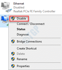 Network Connections Network Adapter Right Click Disable