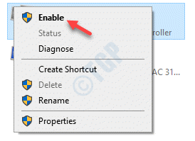Network Connections Network Adapter Right Click Enable