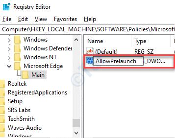 New Dword Value Rename Allowprelaunch Double Click