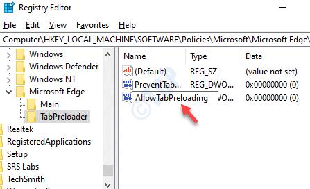New Dword Value Rename Allowtabpreloading Double Click