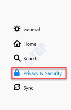 Options Menu Left Side Privacy & Security