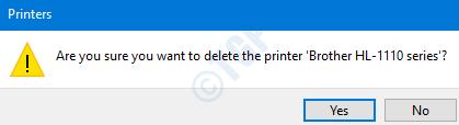 Printers Confirmation Dialog