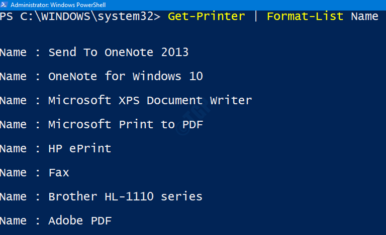 Printers List In Ps