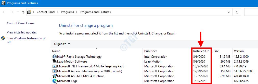 Program Features Window