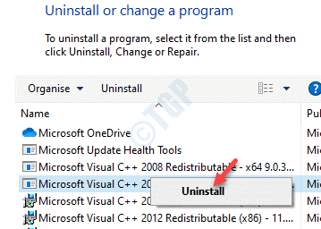 Programs And Features Uninstall Or Change A Program Microsoft Visual C++ 2010 Redistributable Package (x86) Right Click Uninstall