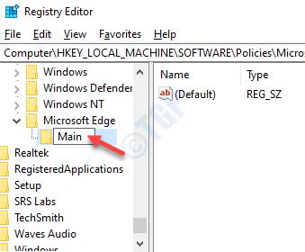 Registry Editor Microsoft Edge Rename New Key As Main