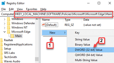 Registry Editor Navigate To Path Right Side Empty Area Right Click New Dword (32 Bit) Value