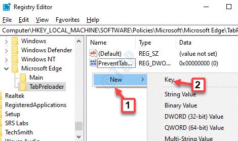 Registry Editor Tabpreloader Right Side Empty Area Right Click New Key