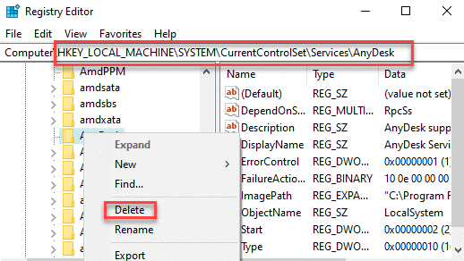 Registry Editor Navigate To Services Path Right Click On The Service Delete