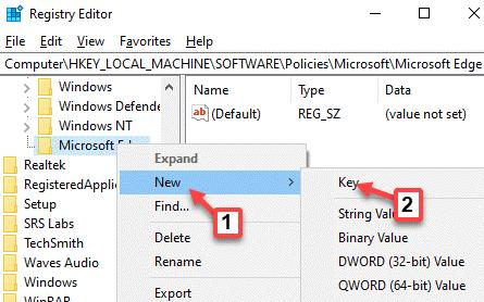 Registry Editor Navigate To Path Microsoft Edge Right Click New Key