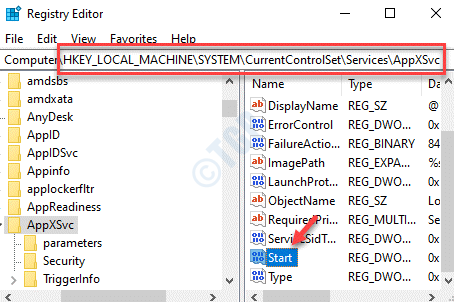 Registry Editor Naviigate To Appxsvc Path Start Double Click