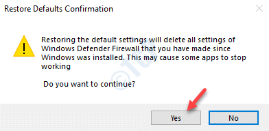 Restore Defaults Confirmation Yes