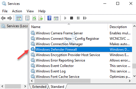 Services Name Windows Defender Firewall
