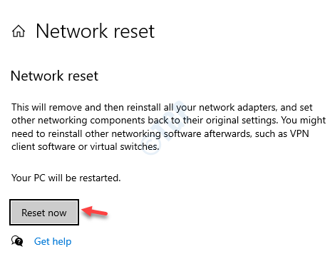 Settings Network Reset Reset Now
