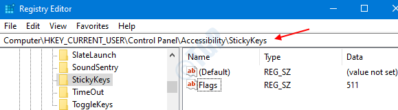 Sticky Keys In Registry