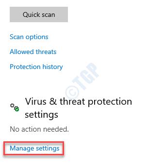 Virus & Threat Protection Virus & Threat Protection Settings Managet Settings