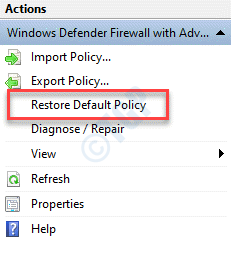 Windows Defender Firewall With Advanced Security Reset Default Policy