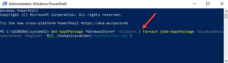 Windows Powershell (admin) Run Command To Reinstall Microsoft Store Enter