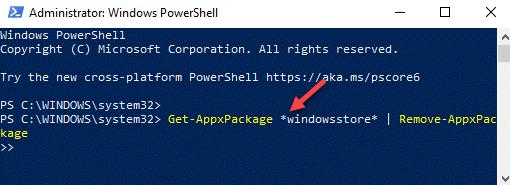 Windows Powershell (admin) Run Command To Remove Windows Store Enter