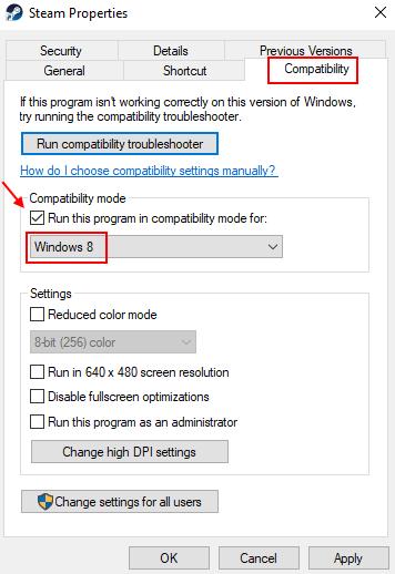 Compatibility Mode Steam Windows 8 Min