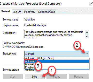 Credential Manager Automatic Stop Min