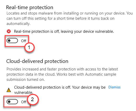 Real Time Off Cloud Protection Off Min