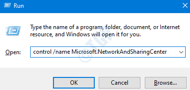 Run Command To Open Network And Sharing