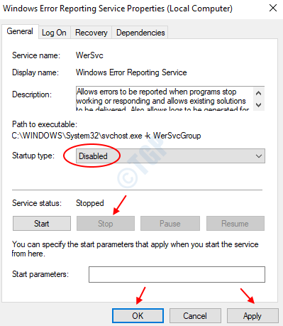 Stop Windows Error Reporting Service