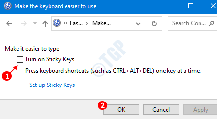 Turn Off Sticky Keys