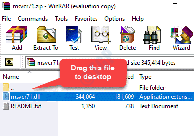 Zip File Drag The Msvcr71.dll File To Desktop