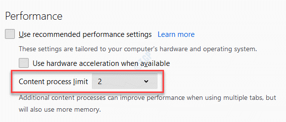Adjust The Content Process Limit Till The Correct Settings