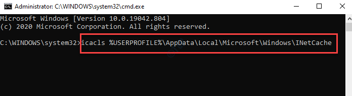 Command Prompt (admin) Run Inetcache Command Enter