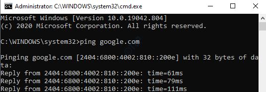 Command Prompt (admin) Run Command To Check Internet Enter