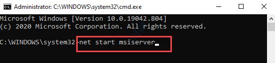 Command Prompt Net Start Msiserver Enter