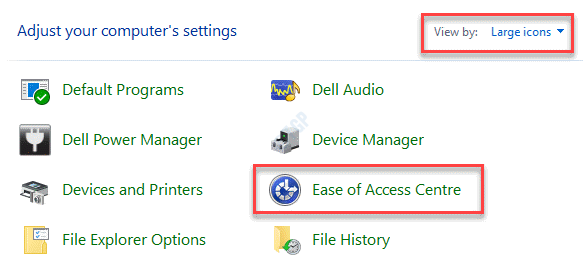 Control Panel View By Large Icons Ease Of Access Center