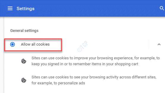 Cookies And Other Site Data General Settings Allow All Cookies