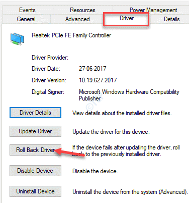 Device Properties Driver Roll Back Driver Ok