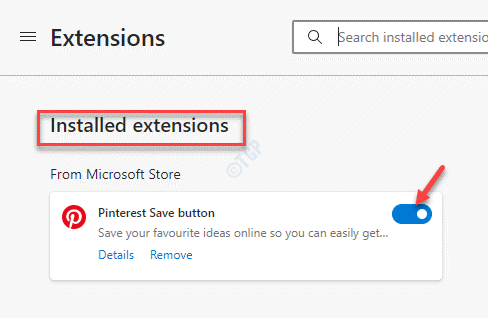 Edge Extensions Installed Extensions Disable