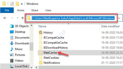 File Explorer Navigate To C Drive Windows Folder Inetcache