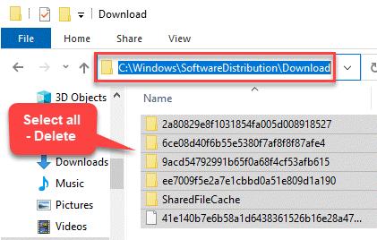 File Explorer Navigate To Software Distribution Download Folder Select All Content Delete