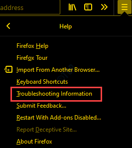Firefox Help Troubleshooting Information